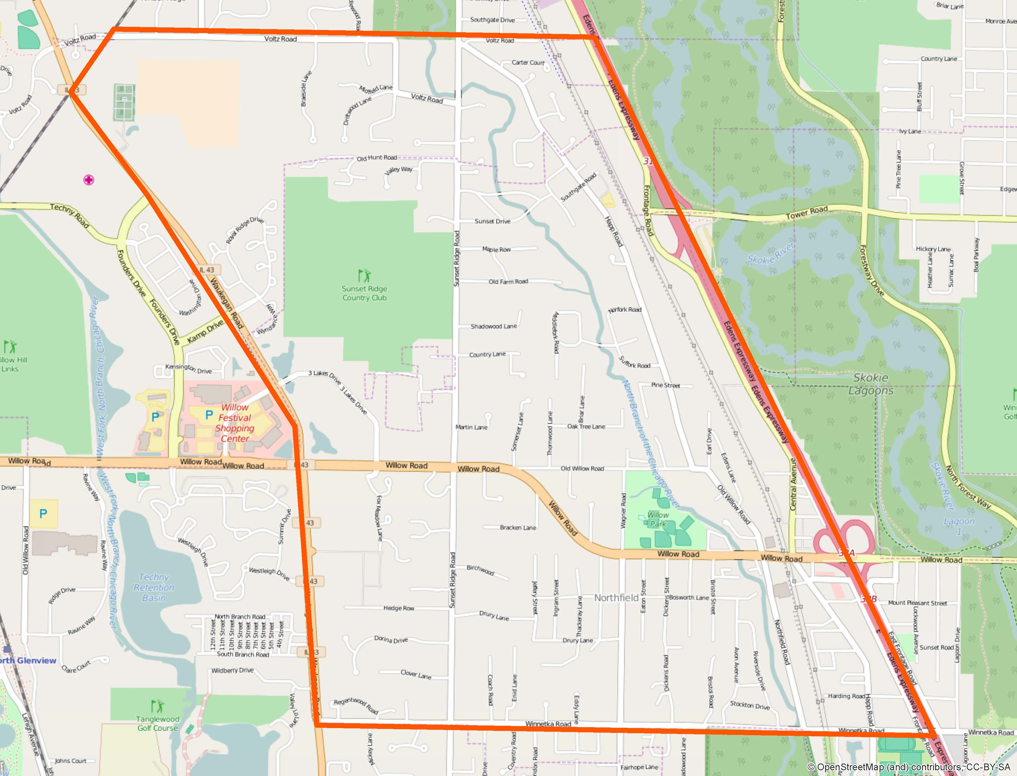 Northfield Park District Boundary Map