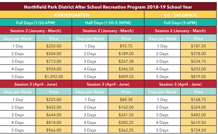 After School Program Chart